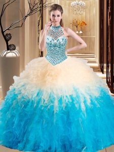 Halter Top Multi-color Sleeveless Beading and Ruffles Floor Length Quinceanera Gown