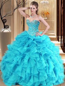 Dazzling Aqua Blue and Turquoise Organza Lace Up Sweetheart Sleeveless Floor Length Quinceanera Gowns Beading and Ruffles