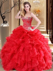 Fine Sleeveless Lace Up Floor Length Beading and Ruffles Sweet 16 Dress