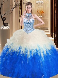Halter Top Sleeveless Floor Length Beading and Ruffles Lace Up Vestidos de Quinceanera with Blue And White