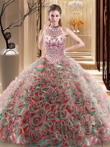 Chic Halter Top Multi-color Sleeveless With Train Beading Lace Up 15 Quinceanera Dress