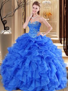 Super Royal Blue Sweetheart Neckline Beading and Ruffles Sweet 16 Dress Sleeveless Lace Up
