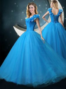 Appliques Quinceanera Dresses Blue Lace Up Cap Sleeves Floor Length