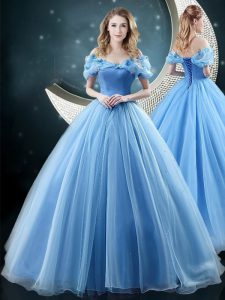 Baby Blue Off The Shoulder Lace Up Appliques Sweet 16 Dresses Brush Train Sleeveless