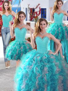 Excellent Four Piece Organza Sweetheart Sleeveless Lace Up Beading Quinceanera Dresses in White and Baby Blue