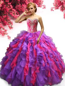 Sweetheart Sleeveless Lace Up Ball Gown Prom Dress Multi-color Organza