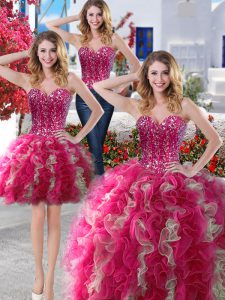 Three Piece Hot Pink Sweetheart Lace Up Beading Quinceanera Dresses Sleeveless
