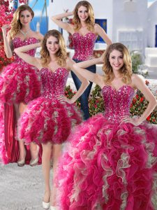 Four Piece Floor Length Hot Pink Sweet 16 Dress Sweetheart Sleeveless Lace Up