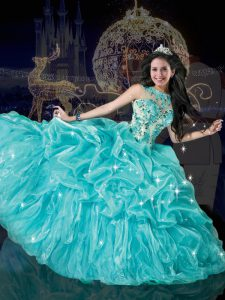 Fitting Aqua Blue Vestidos de Quinceanera Military Ball and Sweet 16 and Quinceanera and For with Beading and Appliques and Pick Ups Bateau Sleeveless Lace Up