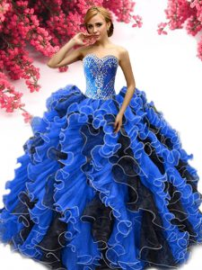 Fine Sleeveless Organza Lace Up 15th Birthday Dress in Blue And Black with Beading and Ruffles
