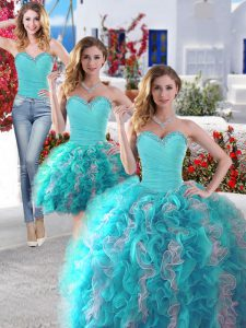 Extravagant Three Piece White and Baby Blue Ball Gowns Beading Quinceanera Dress Lace Up Organza Sleeveless Floor Length