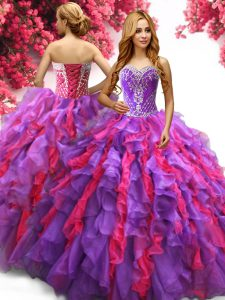 Floor Length Lace Up Sweet 16 Dress Multi-color for Military Ball and Sweet 16 and Quinceanera with Beading and Ruffles