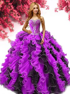 Floor Length Multi-color Sweet 16 Dress Sweetheart Sleeveless Lace Up