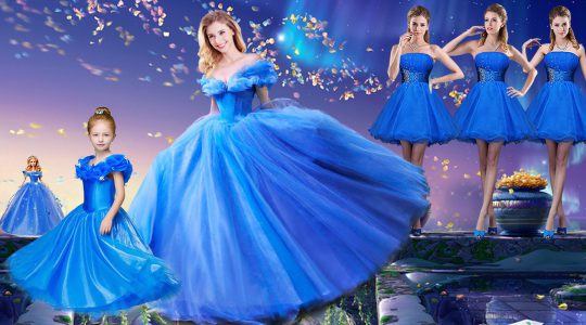 Ball Gowns Quinceanera Gown Royal Blue Off The Shoulder Tulle Short Sleeves Floor Length Lace Up