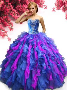 Multi-color Ball Gowns Sweetheart Sleeveless Organza Floor Length Lace Up Beading and Ruffles 15th Birthday Dress
