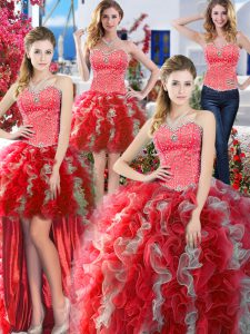 New Arrival Four Piece Beading 15 Quinceanera Dress White And Red Lace Up Sleeveless Floor Length