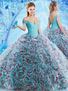 Multi-color Ball Gowns Fabric With Rolling Flowers Off The Shoulder Sleeveless Beading and Appliques and Ruffles Backless Sweet 16 Dress Court Train