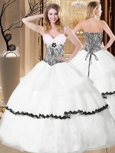 High Class White Organza Lace Up Quinceanera Gown Sleeveless Floor Length Ruffled Layers and Pattern